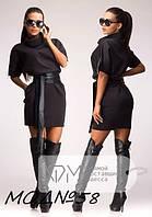Женское короткое платье под пояс черного, зеленого, синего, коричневого цвета размеры 44-48 NM 026-58