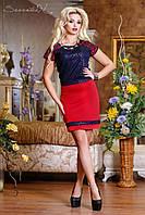 Красивое женское платье-футляр с коротким рукавом