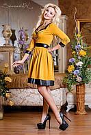 Красивое нарядное женское платье с декольте и кожаными вставками Горчичный