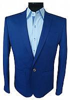 Мужской синий пиджак приталенный 53L Перлин 41638