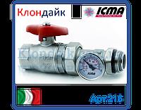 "Icma Шар кран американка с термометром  1"""