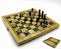 Набор шахматы, шашки, нарды из бамбука
