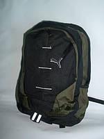 Городской  стильный рюкзак Puma черный с зеленым