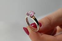Кольцо серебро 925 пробы с золотыми пластинами и розовым камнем