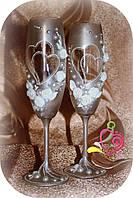 """Свадебные бокалы """"Сердца двоих серебро"""""""