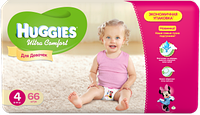 Подгузники Huggies Ultra Comfort №4 8-14 кг (66 шт) (хаггис ультра комфорт) для девочек