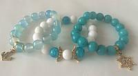 Браслет-комплект бело-голубой женский из белого нефрита, голубого агата, бирюзового кварца BD1301
