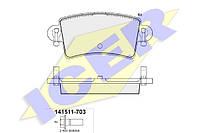 Тормозные колодки задние дисковые Movano , Master , Interstar ICER 141511-703