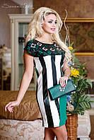 Модное летнее женское платье с кожаными вставками