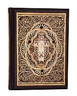 Библия большая с литьем и филигранью(золото) и гранатами в замшевой шкатулке