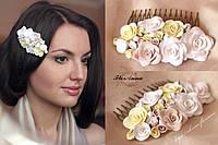 """""""Бежевые розы"""" гребень для волос с цветами из полимерной глины"""
