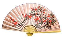Веер настенный шелковый Сакура на розовом фоне*