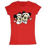 Женская футболка модная с принтом Минни и Микки