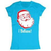 Женская футболка модная с принтом Я верю в Деда Мороза