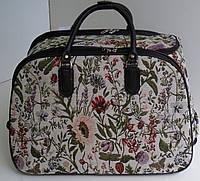 Стильная дорожная сумка - гобелен, на колесах с луговыми цветами, тканевая.