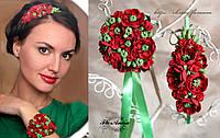 """""""Маки"""" браслет + обруч для волос с цветами из полимерной глины"""