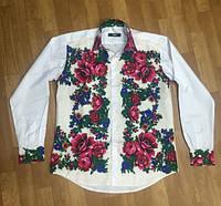 Рубашка  мужская комбинированная с платочной отделкой