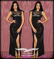 Блестящее платье в пол из пайеток с гипюром