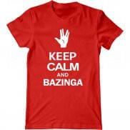 Мужская футболка с принтом Keep-calm-and-bazinga
