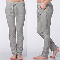 Женские брюки трикотажные серые со стразами