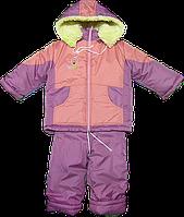 Детский зимний комбинезон (полукомбинезон/штаны на шлейках и куртка) на овчине, Украина, р.104-110