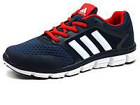 Кроссовки мужские летние Adidas Classic, текстиль/ нубук, темно-синие/ красные, фото 1