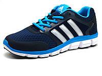 Кроссовки мужские летние Adidas Classic, текстиль/ нубук, темно-синие/ голубые, фото 1
