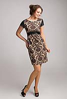 Летнее платье с завышенной талией из жаккарда и искуственной кожи