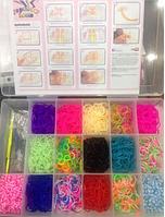 Набор силиконовых резиночек Rainbow loom для плетения браслетов