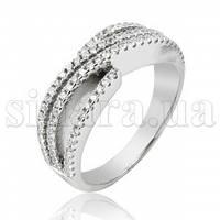 Серебряное кольцо Диагональ с цирконием 28065