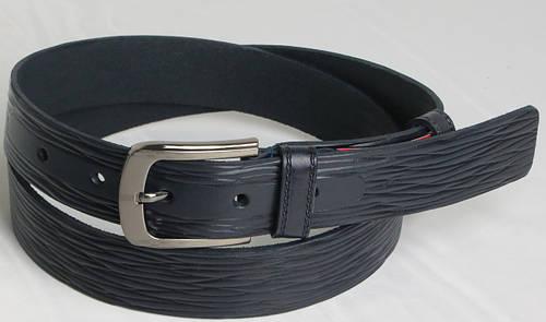 Брючный мужской кожаный ремень Skipper 5520 тёмно синий ДхШ: 123х3,5 см.