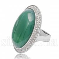 Серебряное кольцо овал с зеленым агатом 24775