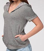 Женский джемпер однотонный с капюшоном серый
