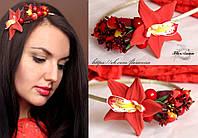 """""""Тропическая орхидея с ягодами"""" обруч для волос с цветами и ягодами для девушки."""
