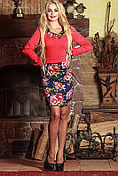 Красивое женское платье с цветочным принтом