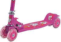 Самокат детский 4х колесный со звоночком розовый, голубой, зеленый