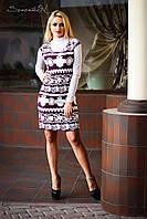 Женское деловое платье до колен с принтом