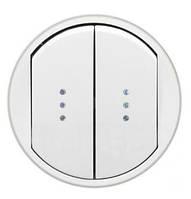 Лицевая панель выключатель двухклавишный с подсветкой и индикацией Белый Legrand Celiane (68004)