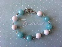 Комплект (браслет+серьги) бело-голубой из нефрита и амазонита BD1601