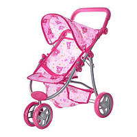 Кукольная коляска металлическая, колеса поворачивают, высота до ручки регулируется по высоте(+) (Арт. MMT-9671