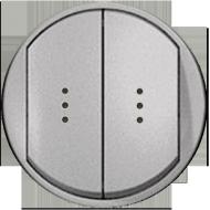 Лицевая панель выключатель двухклавишный с подсветкой и индикацией Титан Legrand Celiane (68304)