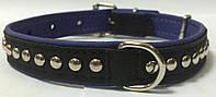 Ошейник с украшениями 31 - 38см/20мм для собаки, натуральная кожа.