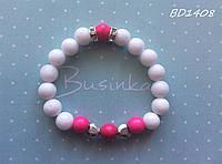 Детский браслет с белыми и розовыми натуральными камнями BD1408