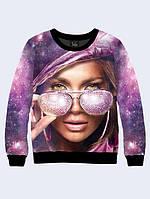 Женский модный свитшот фиолетового цвета с ярким 3Д принтом девушки в очках