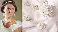"""""""Белые розы"""" серьги,кольцо,браслет. свадебный комплект украшений. из полимерной глины:"""