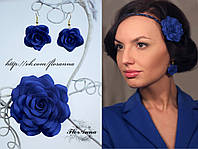 """""""Синие розы"""" авторский комплект украшений  с цветами серьги и заколка"""