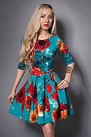 Молодежное женское платье в цветочный принт