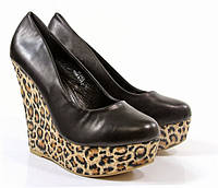 Т379 Женские туфли на платформе черные леопард