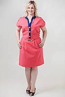 Легкое однотонное платье   большого размера