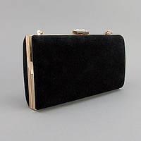 Клатч-бокс сумочка замшевая женская черная